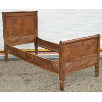 ANTICO LETTO CAMERA SINGOLO legno NOCE MASSELLO epoca 800 baionetta OLD WOOD BED