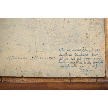 ANTICO DIPINTO OLIO Vittorio Rosa MOTTARONE VEDUTA PAESAGGIO COLLINE LAGO 1956
