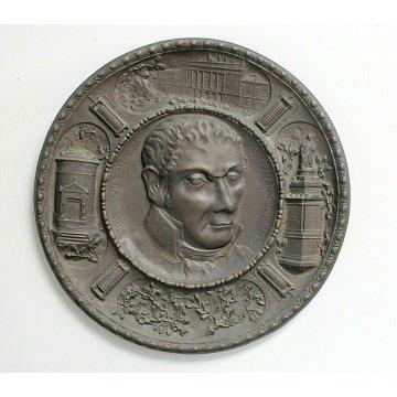 ANTICO PIATTO COMMEMORATIVO Centenario Alessandro Volta 1927 BASSORILIEVO BRONZO