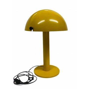 LAMPADA TAVOLO FUNGO GIALLA DESIGN ANNI 70 MUSHROOM LAMP VINTAGE FERRO LACCATO