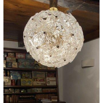 GRANDE LAMPADARIO SPUTNIK LAMPADA SOSPENSIONE ZERO 4 SFERA DESIGN MURANO VINTAGE