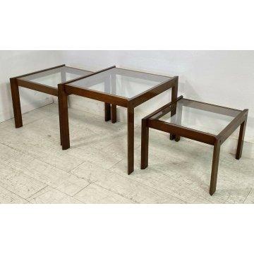 SET 3 TAVOLINI IMPILABILI VINTAGE LEGNO VETRO TABLE DESIGN MID CENTURY ANNI 70