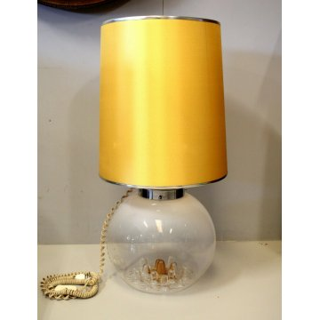 LAMPADA TAVOLO VETRO Murano PARALUME TESSUTO ORO TABLE LAMP GOLD SHADE anni '60