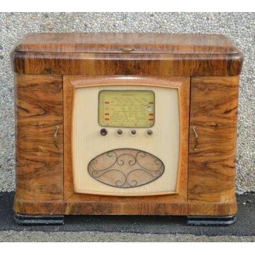 ANTICO MOBILE BAR decò EPOCA anni 40 RADICA vintage SCALA PARLANTE RADIO MARELLI