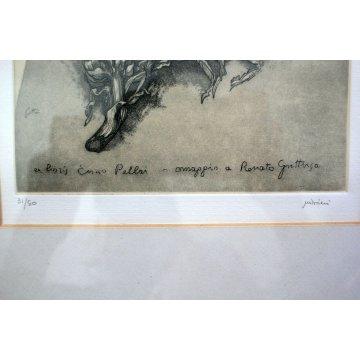STAMPA INCISIONE ACQUAFORTE Ex Libris Enzo Pellai OMAGGIO Renato Guttuso 31/50