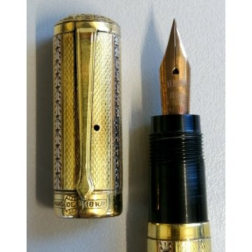 WATERMAN IDEAL Antica Penna Stilografica RETRATTILE Safety ORO 18k FOUNTAIN PEN