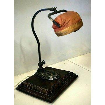 ANTICA LAMPADA  SCRIVANIA Ministeriale DESK TOP LAMP PARALUME TESSUTO ANNI '40s