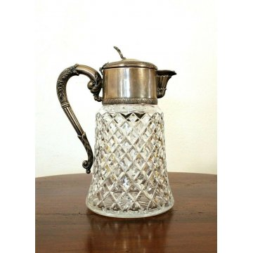 CARAFFA CRISTALLO SILVEPLATE crystal&silver GLASS WINE CARAFE DECANTER VINTAGE