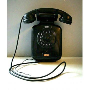 TELEFONO A DISCO DA PARETE MODERNARIATO Siemens Milano BACHELITE FUNZIONANTE '30