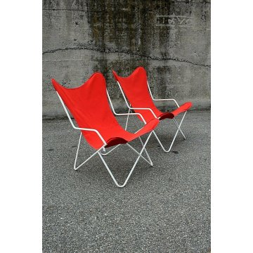 COPPIA SEDIA GIARDINO VINTAGE BUTTERFLY LOUNGE CHAIR RED WITH ARMS ANNI '50/'60