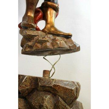 ANTICO GRANDE TORCERE SCULTURA MORETTO VENEZIANO ELETTRIFICATO LEGNO 5 LUMI