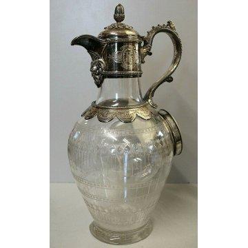 CARAFFA CRISTALLO MOLATO SILVEPLATE GLASS WINE CARAFE DECANTER Bacart(?) VINTAGE