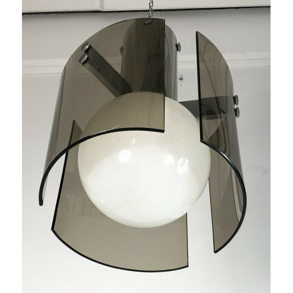 LAMPADARIO A SOSPENSIONE VECA ANNI 70 ACCIAIO VETRO LAMPADA DESIGN MADE IN ITALY