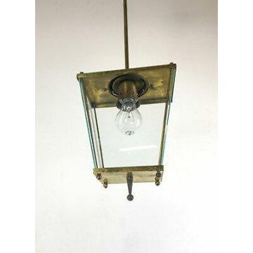 LAMPADA STILE FONTANA ARTE DA ESTERNO OTTONE VETRO LAMPIONE LAMPADARIO LUCERNA