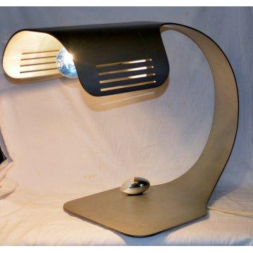 COLOMBA Walter Moretti LAMPADA TAVOLO TABLE LAMP ALLUMINIO SATINATO 1970 vintage