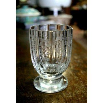CALICE COPPA CRISTALLO Bohemian GLASS BIEDERMEIER SFACCETTATO MOLATO INCISO UVA
