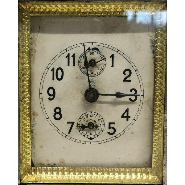 ANTICO OROLOGIO TAVOLO OFFICIER JUNGHANS EPOCA 800 OLD CLOCK FUNZIONANTE CHIAVE