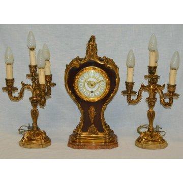 ANTICO TRITTICO Orologio Parigina 2 CANDELABRO epoca 1900 OTTONE DORATO MARMO