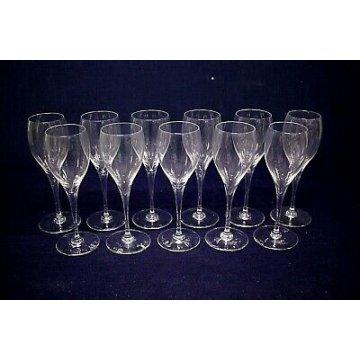 SET 11 pz. CALICI VERMOUTH Baccarat St. Remy VINO FRANCE CRYSTAL GLASS SIGNED