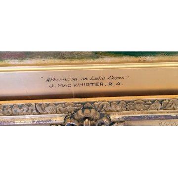 ANTICO DIPINTO PAESAGGIO LAGO COMO JOHN MAC WHIRTER QUADRO SCOZIA 1800 OLIO TELA