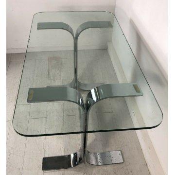 TAVOLO SCRIVANIA DESIGN VETRO ACCIAIO FORMANOVA GIANNI MOSCATELLI TABLE GLASS