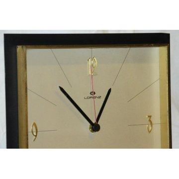 OROLOGIO PARETE Lorenz DESIGN VINTAGE anni 70 NERO ORO OLD WALL CLOCK Junghans