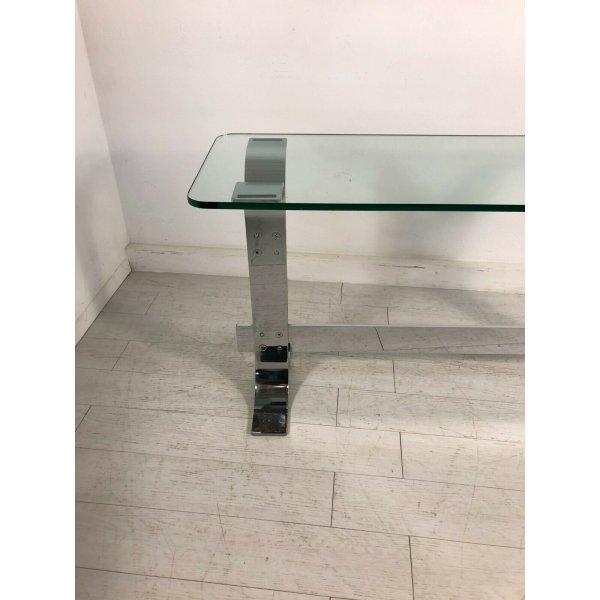 TAVOLINO CAFFE' DESIGN VETRO ACCIAIO FORMANOVA DI GIANNI MOSCATELLI TABLE GLASS