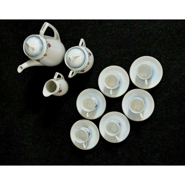 ANTICO SERVIZIO CAFFE' DA 6 PORCELLANA KMP Germany LIBERTY DECORO FLOREALE ORO