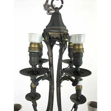 ANTICO LAMPADARIO OTTONE FORGIATO 8 LUCI EPOCA DA SOFFITTO OLD HANGING LAMP