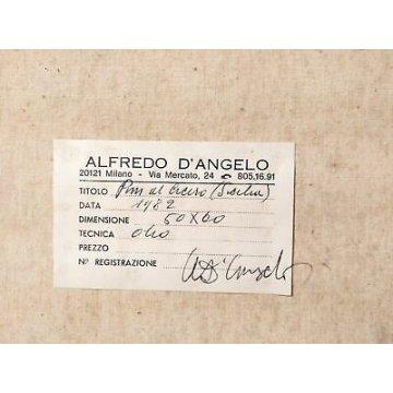 QUADRO ALFREDO D'ANGELO PINI AL CICERO SICILIA DIPINTO OLIO TELA MILANO 1982