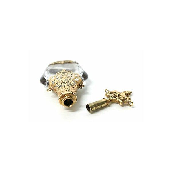 ANTICA FIALA PORTA PROFUMO ACQUA SANTA 1750 ORO CRISTALLO GOLD CRYSTAL OLD FLASK