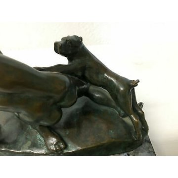 ANTICA SCULTURA BRONZO LIBERTY NUDO DONNA CANE DIANA STATUA FIRMATA EPOCA 1910