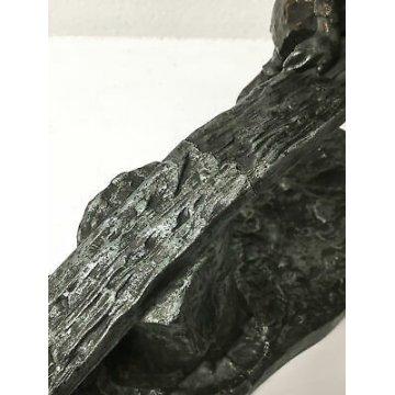 SCULTURA BAMBINI SUL DONDOLO METALLO BRONZATO STATUA EPOCA SEE SAW SCULPTURE