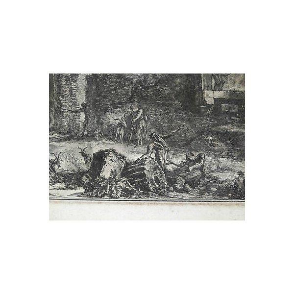 ANTICA STAMPA PIRANESI G. BATTISTA ROMA EPOCA ACQUAFORTE TEMPIO SIBILLA 1800 OLD