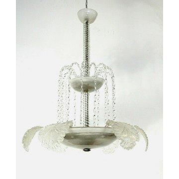 LAMPADARIO VETRO MURANO TRASPARENTE FOGLIE BAROVIER&TOSO VINTAGE LAMP GLASS