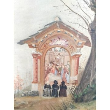 ANTICO QUADRO SANTUARIO DIPINTO BORGOSESIA SANTA CRISTINA VALSESIA ARTE SACRA