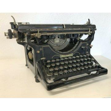 Underwood Antica Macchina Da Scrivere Art Deco 1920 METALLO NERO DECORATA EPOCA