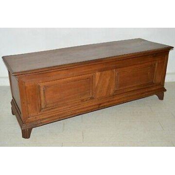 ANTICA CASSAPANCA LOMBARDA legno NOCE epoca 1800 IMPERO OLD WOOD CHEST FORMELLA