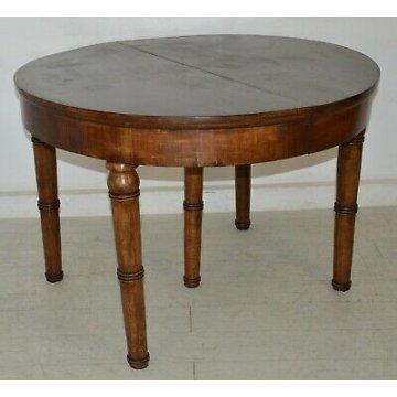 ANTICO TAVOLO 1800 IMPERO Carlo X ROTONDO ø113 legno NOCE allungabile 2,85 m OLD