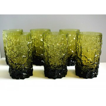 SET 6 BICCHIERI LONG DRINK COCKTAIL VINTAGE GLASSES GREEN BARK/ICE TEXTURED