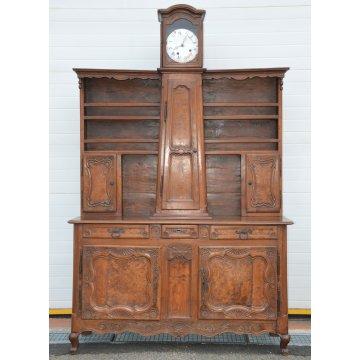 ANTICA CREDENZA ALZATA Luigi XV PROVENZALE MORBIER legno NOCE INTARSIATO 1800
