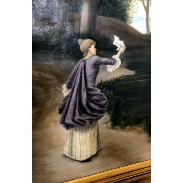 ANTICO GRANDE QUADRO DIPINTO OLIO TELA Elena Gerlach PAESAGGIO NORDICO 1895