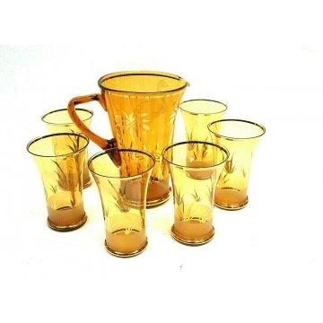 SET CARAFFA 6 BICCHIERI VETRO AMBRATO COCKTAIL LONG DRINK FENICOTTERO PALME '50s