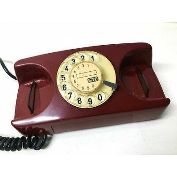 TELEFONO SIP VINTAGE A DISCO COLORATO ROSSO VINO DESIGN STARLITE GTE EPOCA 1980