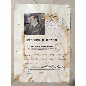 SERIGRAFIA ANTONIO CAZZAMALI 1985 NUMERATA ERCOLE CAVALLE DIOMEDE AUTENTICA