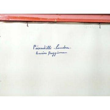QUADRO ENRICO BOGGIONE PICCADILLY CIRCUS LONDRA DIPINTO OLIO TAVOLA EPOCA 1960