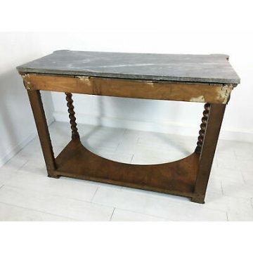 ANTICA CONSOLLE CARLO X LEGNO NOCE GAMBE TORCIGLIONE PIANO MARMO EPOCA 1800