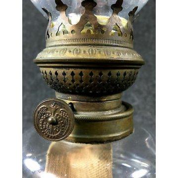 ANTICA LAMPADA OLIO HASAG HUGO SCHNEIDER PETROLIO METALLO VETRO GERMANIA 1900