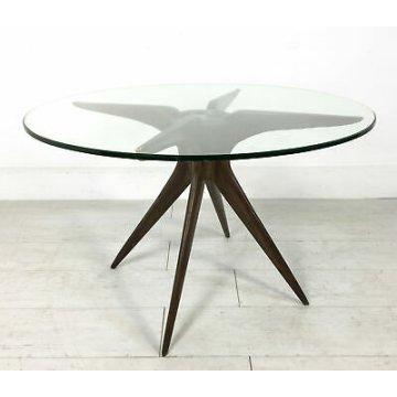 TAVOLO TONDO DESIGN ATTR. LUISA ICO PARISI VETRO LEGNO COFFEE TABLE VINTAGE