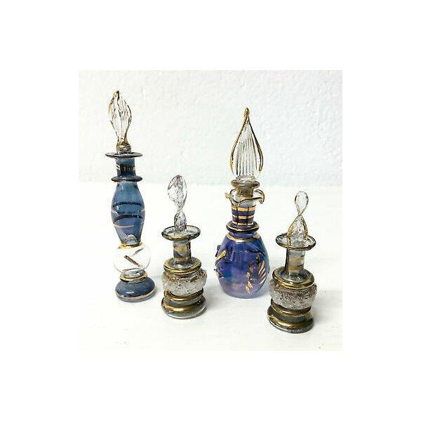 SET 4 FIALA PORTAPROFUMO VETRO SOFFIATO MURANO BOCCETTA GLASS ART DESIGN PERFUME